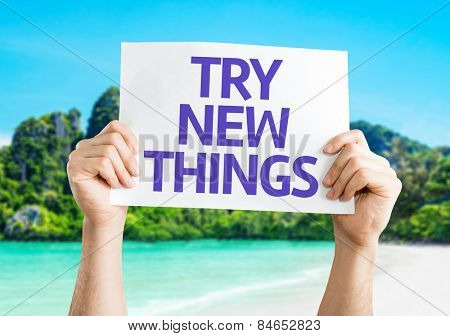 Try New Things card with beach background