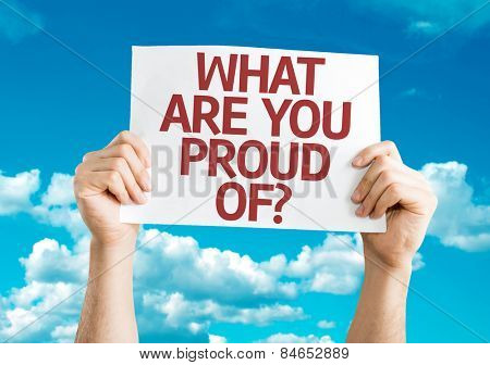 What Are You Proud Of? card with sky background