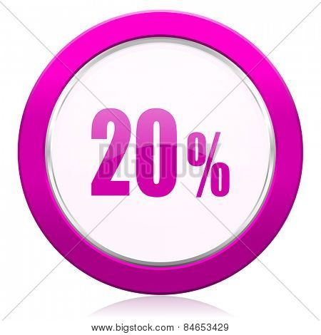 20 percent violet icon sale sign