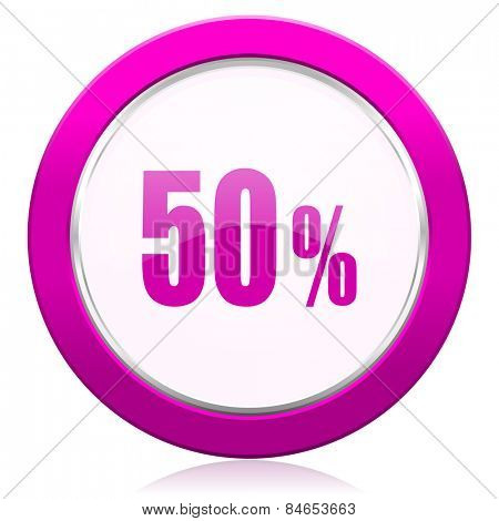 50 percent violet icon sale sign