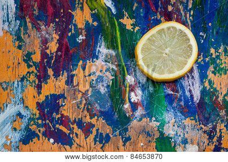 Lemon Slice On Colourful Background