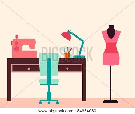 Workplace seamstress. Table and sewing machine. Vector illustration