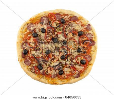 Delicious Italian Pizza With Tomatoes And Pepper Isolated On White Background. Top View.