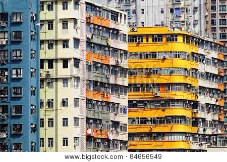 Old apartment buildings in hong kong