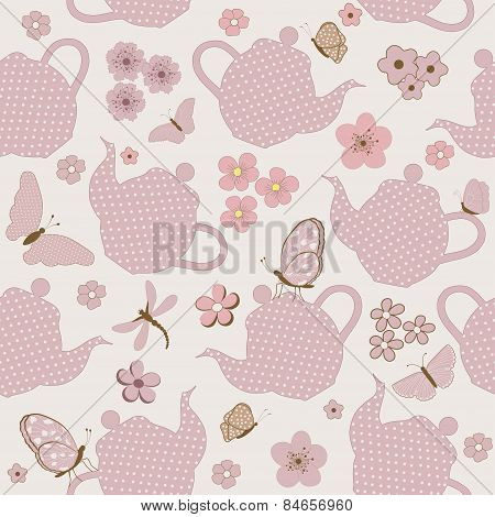 Seamless Pattern With Kettles And Flowers, And Butterflies