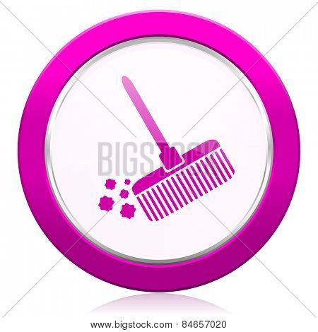 broom violet icon clean sign