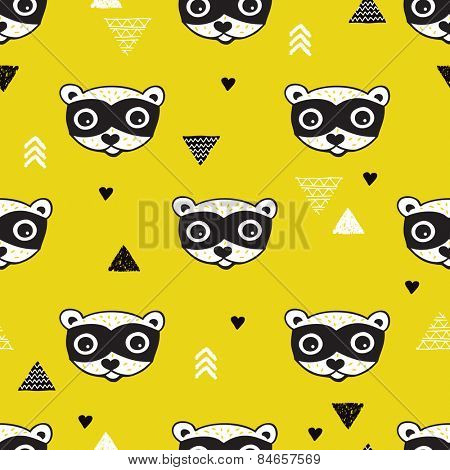 Seamless geometric kids woodland raccoon illustration triangle background pattern in vector