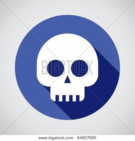 Skulls Icon On Blue Background
