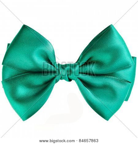 Green bow close up on white isolated on white background