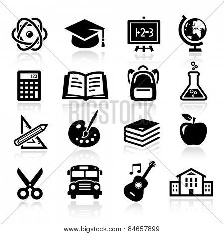 Collection of icons representing education, school and students.