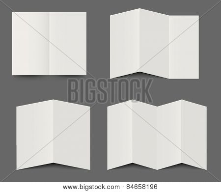 Vector templates of dimensional folded blank white brochures for use as design elements for leaflets, advertising and branding in double, triple fold and four fold formats
