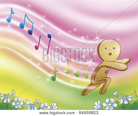 Gingerbread boy running and singing