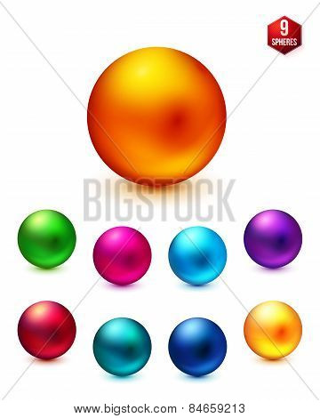 Shiny Colored Spheres on White Background