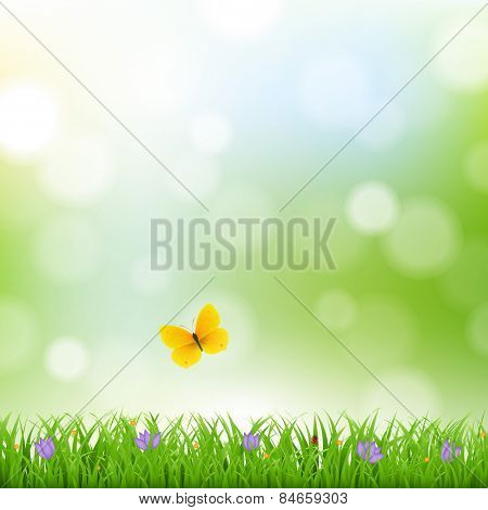 Nature Background With Grass Border And Flowers With Gradient Mesh, Vector Illustration
