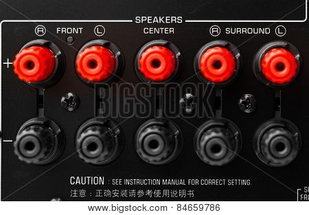 red and black speaker connectors of AV receiver