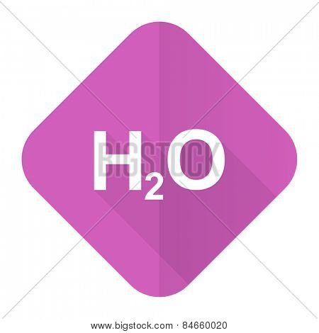 water pink flat icon h2o sign