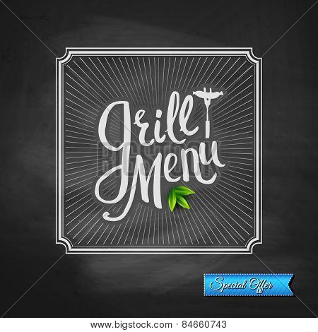 Grill Menu Special Offer Poster on Chalkboard