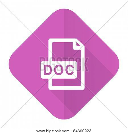 doc file pink flat icon
