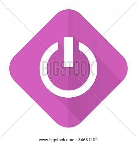 power pink flat icon on off sign