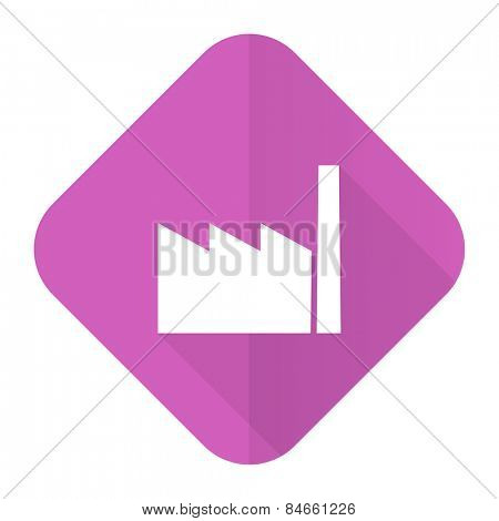 factory pink flat icon industry sign manufacture symbol
