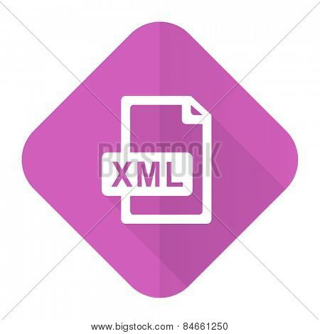 xml file pink flat icon
