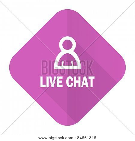 live chat pink flat icon