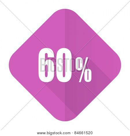 60 percent pink flat icon sale sign