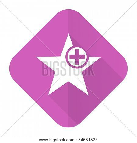 star pink flat icon add favourite sign