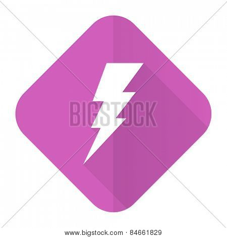 bolt pink flat icon flash sign