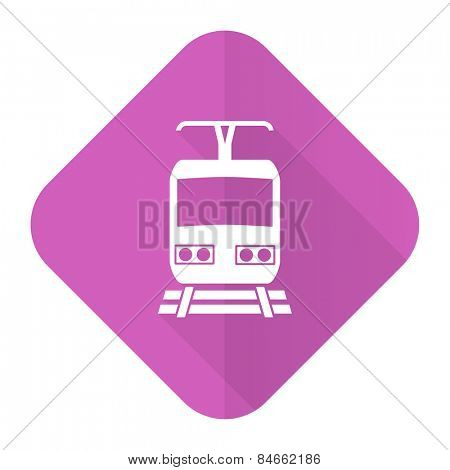 train pink flat icon public transport sign