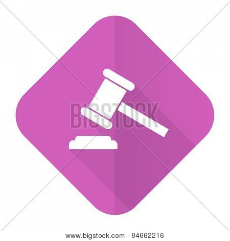 auction pink flat icon court sign verdict symbol