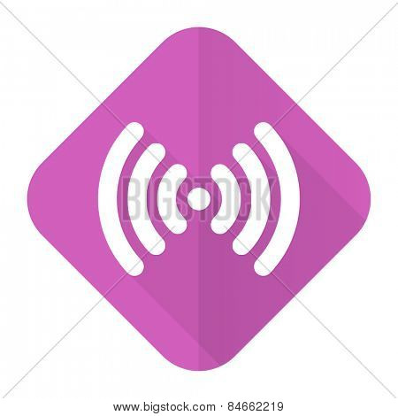 wifi pink flat icon wireless network sign