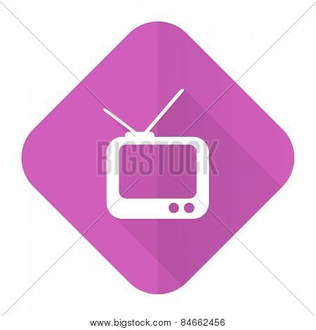 tv pink flat icon television sign