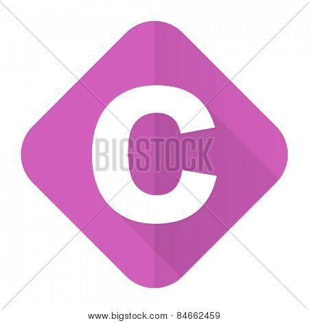 copyright pink flat icon