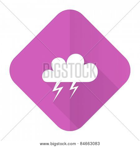 storm pink flat icon waether forecast sign