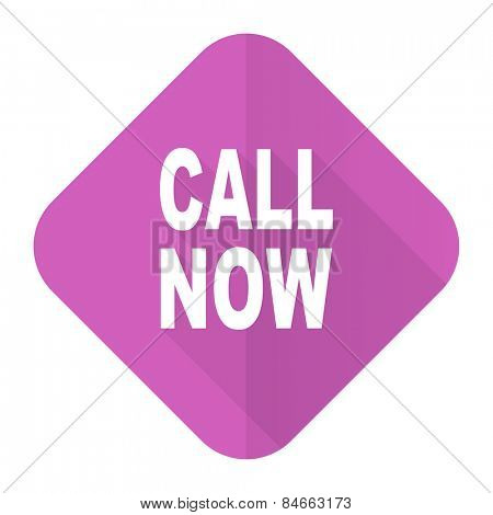 call now pink flat icon