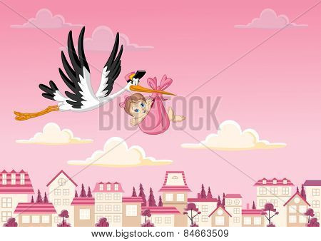 Cartoon stork delivering a newborn baby girl