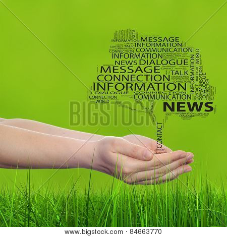 Conceptual tree word cloud tagcloud, man or woman hand on  green blur grass background metaphor to communication speech, message, mail, dialog, talk, contact, email, connection, news or internet