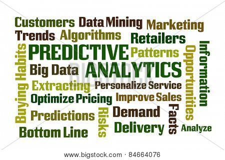 Predictive Analytics word cloud on white background