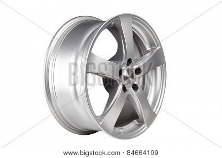 Car alloy wheel on white background. Clipping path