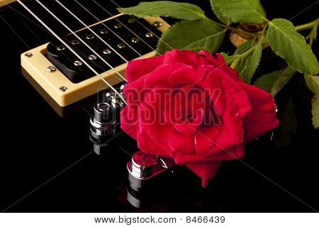 Red Rose Black Electric Guitar
