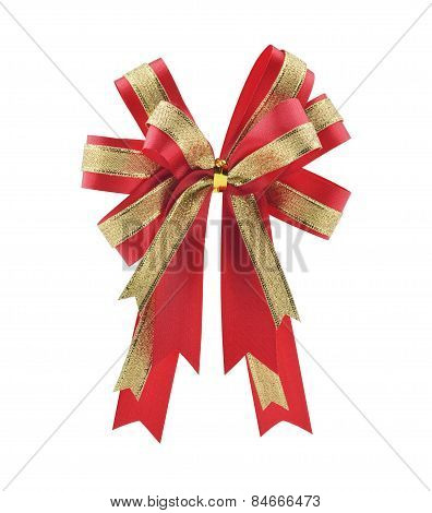 Red And Gold Gift Bow And Ribbon With Clipping Path