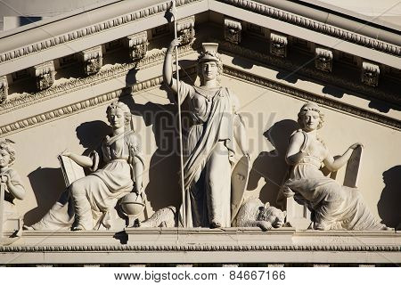 Detail Shot Of Statues On California State Capitol