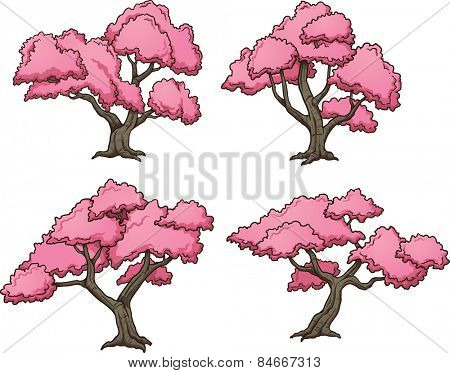 Sakura trees. Vector clip art illustration with simple gradients. Each on a separate layer.
