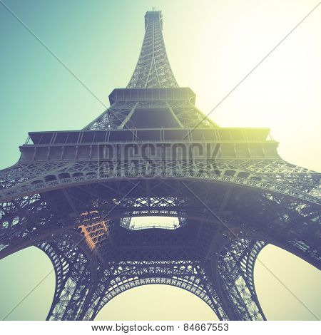 Eiffel Tower in Paris, France. Retro style filtred image