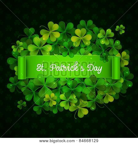 Saint Patricks Day Card, Green Ribbon On Realistic Shamrock Leaves