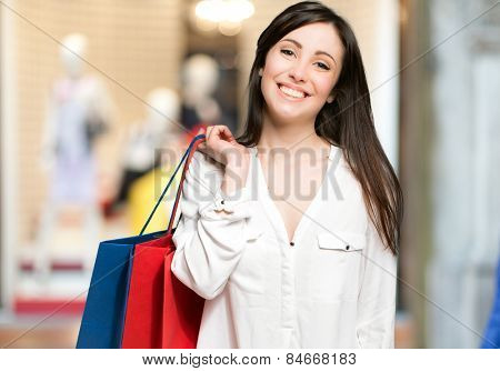 Young woman shopping outdoor