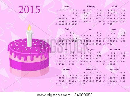 American Vector calendar 2015 with cake, starting from Sundays
