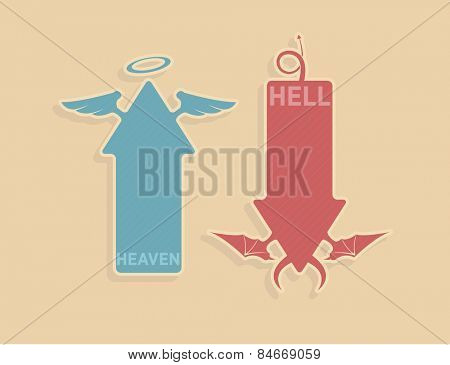 Vector up and down arrows with angel and devil symbols