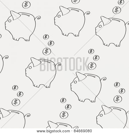 moneybox pattern on light background Vector illustration
